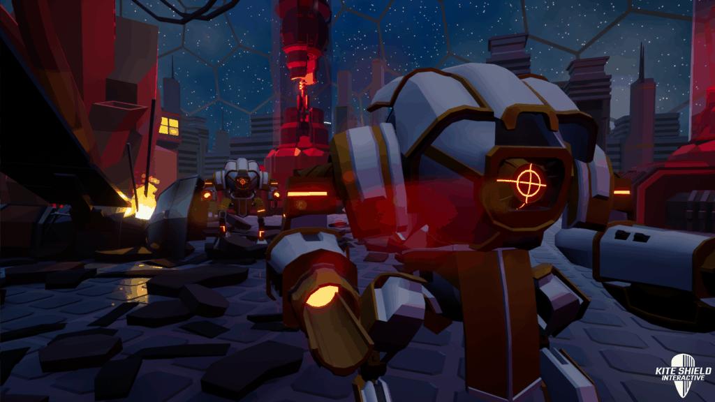 Screenshot of mechs in Moon Corp. Tower Defense